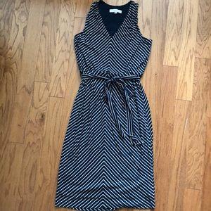 Blue and white striped flowy dress